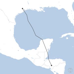 Map of flight plan from MHTG to KIAH