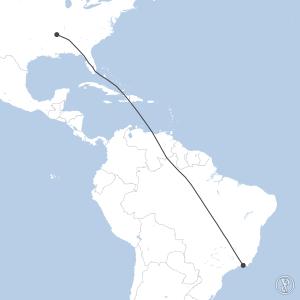 Map of flight plan from KMEM to SBGL