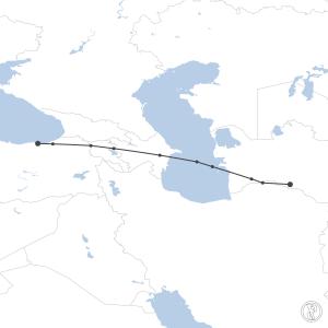 Map of flight plan from UTAA to LTCG