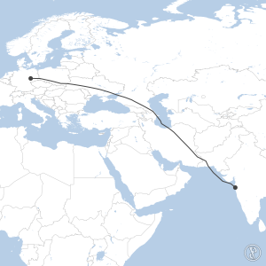 Map of flight plan from VABB to EDDP