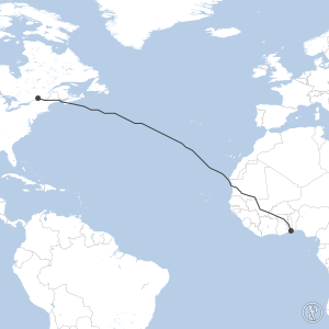 Map of flight plan from CYUL to DXXX