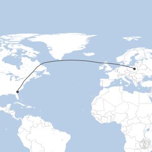 Map of flight plan from EPWA to KSAV
