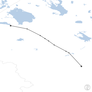 Map of flight plan from ULLI to UUDD