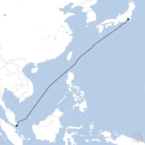Map of flight plan from WSSS to RJTT