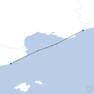 Map of flight plan from LFMN to LEBL