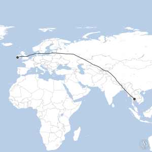 Map of flight plan from VTBS to EINN