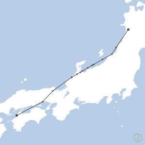 Map of flight plan from RJOM to RJSK