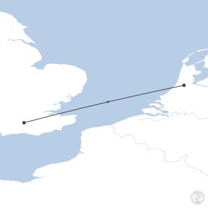 Map of flight plan from EGKK to EHAM