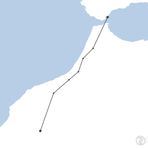Map of flight plan from LXGB to GMMX