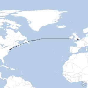 Map of flight plan from EGLL to KJFK