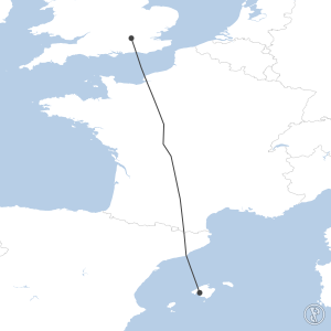 Map of flight plan from EGLL to LEPA