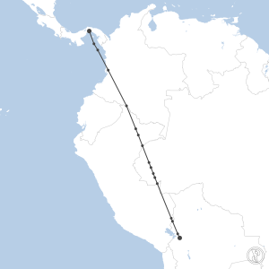 Map of flight plan from SLLP to MPTO
