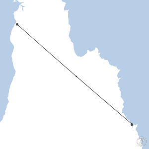 Map of flight plan from YBCS to YAUR