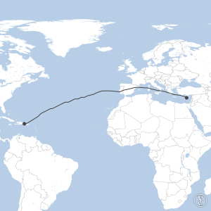 Map of flight plan from LCPH to MDPC