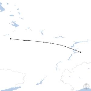 Map of flight plan from UUEE to UWWW