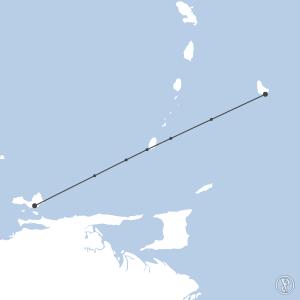 Map of flight plan from SVMG to TBPB