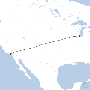 Map of flight plan from KORD to KLAX