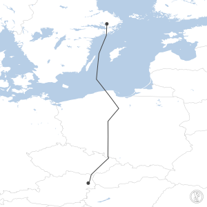 Map of flight plan from LOWW to ESSA