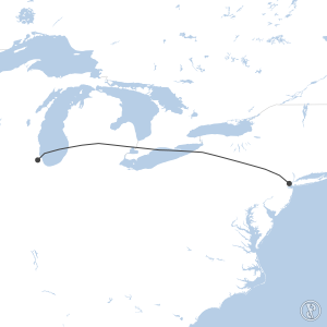 Map of flight plan from KEWR to KORD