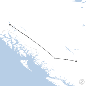 Map of flight plan from CYXS to CYXY