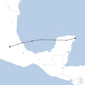 Map of flight plan from MMUN to MMMX