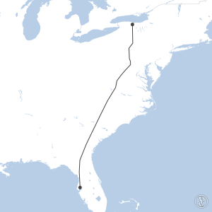 Map of flight plan from KTPA to KROC