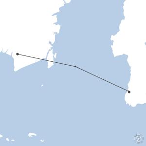 Map of flight plan from WAAA to WAOO