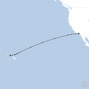Map of flight plan from PHNL to KLAX