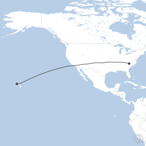 Map of flight plan from PHNL to KCLT