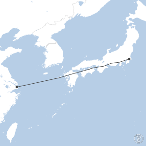 Map of flight plan from ZSPD to RJAA