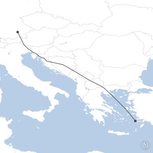Map of flight plan from EDDM to LGKO