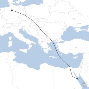 Map of flight plan from EDDV to HEGN
