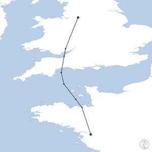 Map of flight plan from EGCC to LFRS