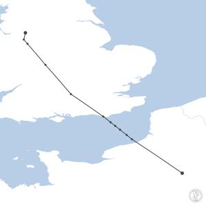 Map of flight plan from EGCC to LFPG