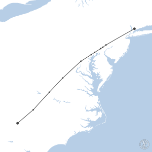 Map of flight plan from KCLT to KHPN
