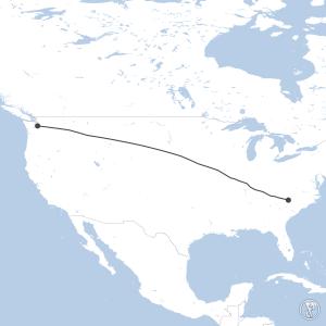Map of flight plan from KCLT to KSEA