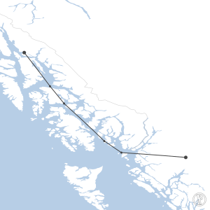 Map of flight plan from CYXT to PAJN