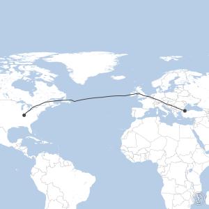 Map of flight plan from KSDF to LTFM