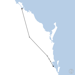 Map of flight plan from YGLA to YBBN