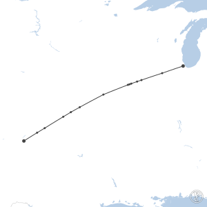 Map of flight plan from KAMA to KMDW