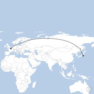 Map of flight plan from RJTT to LFPG