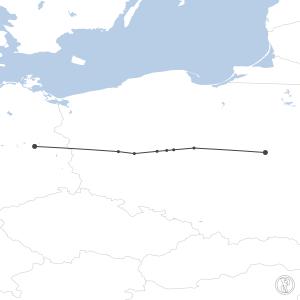 Map of flight plan from EDDB to EPWA