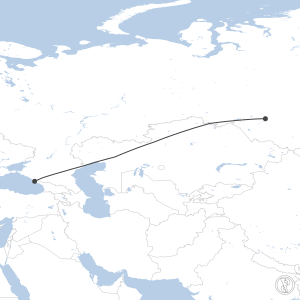 Map of flight plan from URSS to UNNT