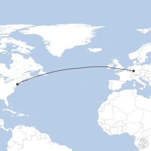 Map of flight plan from KJFK to EDDF