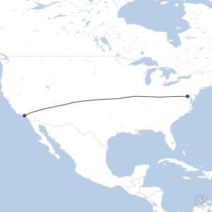 Map of flight plan from KLAX to KDCA