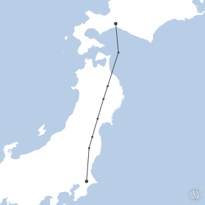 Map of flight plan from RJCC to RJAA