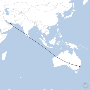 Map of flight plan from OMDB to YSSY