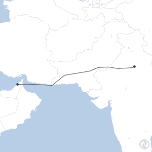 Map of flight plan from OMDB to VIDP