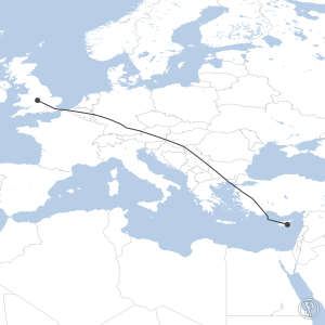 Map of flight plan from EGBB to LCLK
