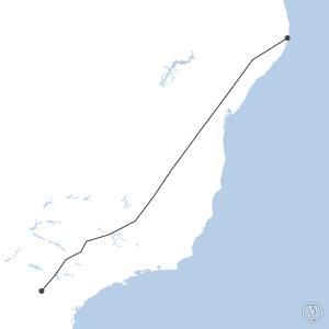 Map of flight plan from SBRF to SBTL